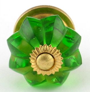 Green Glass Cabinet Knobs Cupboard Drawer Pull #K59