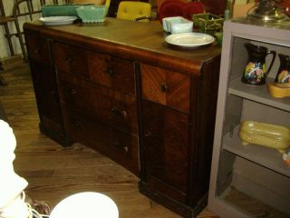 Waterfall Buffet Credenza Vintage Antique Art Deco Sideboard Server