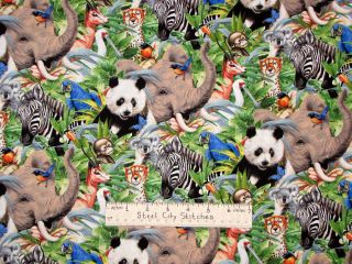 Animal Zebra Panda Monkey Elephant Koala Tiger Wold Wildlife Cotton
