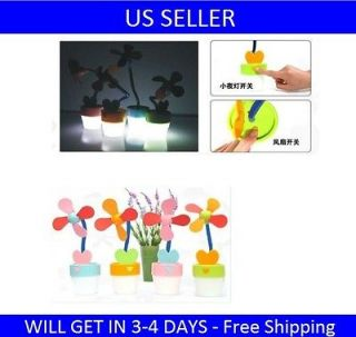 MINI USB LED LIGHT FLOWER POTTED FAN COMPACT PORTABLE FAN   GREEN