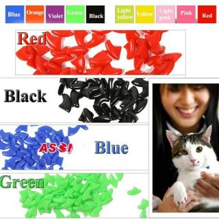 20PCS Soft Nail Caps For Cat Paw Pet Claws with FREE Super Adhesive