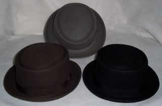 PROPER PORK PIE HAT, BLACK, BROWN OR GREY SIZE CHOICE