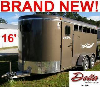 NEW 2012 16' DELTA STOCK/3 HORSE TRAILER,DRESSI​NG ROOM