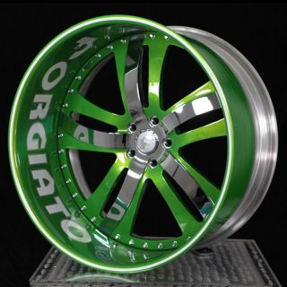 24 FORGIATO RASOIO CUSTOM PAINT TWO TONE WHEELS WITH SCRIPT ON LIP