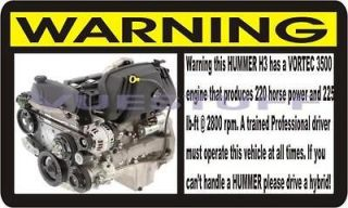 Hummer H3 Funny Warning Decal Sticker 2006 06 H 3 NEW (Fits Hummer
