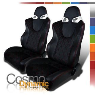 2X BLACK SUDED RED LINE LEATHER RACING SEATS NISSAN 350Z MAXIMA GT R