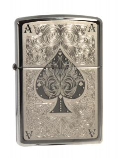 Zippo lighter 28323 ace of spades filigre​e black ice chrome NEW