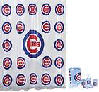 Chicago CUBS MLB 7pc Frosty Bathroom Shower Curtain Set