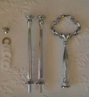 Cake Stand Handle Fitting 3 Tier Heavy Silver Clover Centre Hardware