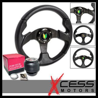 SCION TOYOTA 280MM ALL BLACK PVC LEATHER RACING STEERING WHEEL + HUB