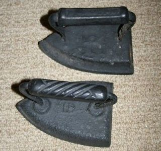 Antique Black Cast Wrought Iron Clothes Irons Clothing Sad Old