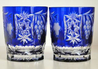 MARSALA COBALT BLUE CASED CUT TO CLEAR CRYSTAL WHISKEY DOF GLASSES