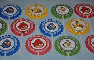 24 Personalized Cupcake toppers   ANGRY BIRDS birthday party supplies