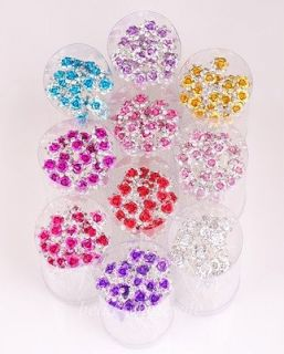 20pcs Mixed Shiny Crystal Rhinestone Flower Hair Pins For Party