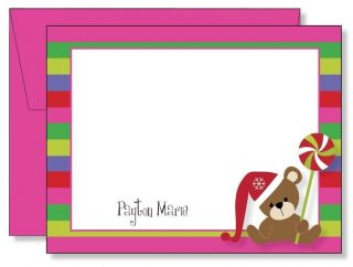 Personalized FLAT Pink Bear Lollipop Christmas Thank You Note Cards