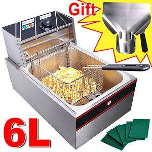 2500W 6 Liter Electric Countertop Deep Fryer Tank Basket Commercial