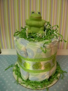 FROG mini diaper cake, baby shower decoration/centerpiece
