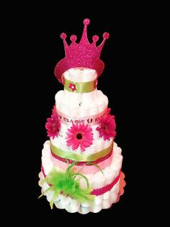 PINK PRINCESS DIAPER CAKE BABY SHOWER GIFT OR CENTERPIECE ITS