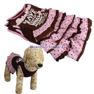 Pet Dog Apparel Clothes lovely Skirt Printed Dress cotton 5 SIZE