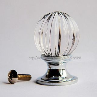 Pumpkin Clear Crystal Glass Drawer Cabinet Knob(Copper Base) 30mm