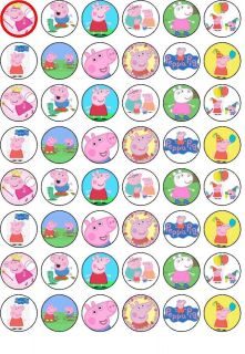 48 Peppa Pig Edible Wafer Rice Paper Cupcake Bun Fairy Cake Topper