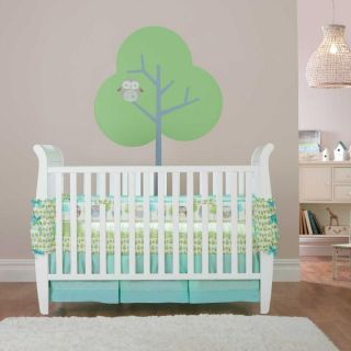 Blue Green Tree w/ Single Spotted Owl Neutral Baby Crib Bedding Set