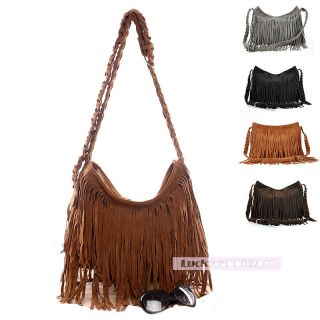 Fringe Tassel Faux Suede Shoulder Messenger Cross Body Bag Handbag New