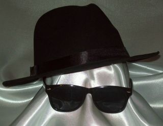 Costume Set BLUES BROTHERS ~ HAT & SUNGLASSES R Gangster FEDORA