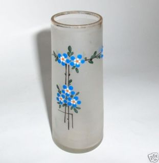 art deco frosted glass vase, with geometrical relief pattern, unsigned