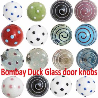 New GLASS Polka dot & swirls DOOR KNOBS Drawer Pulls/Handles Spotty