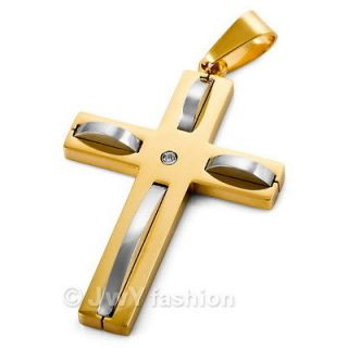 Stunning Men Gold Stainless Steel Cross Pendant Necklace LP11 955