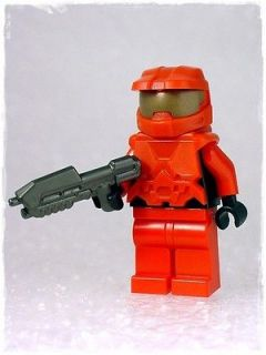 RED HALO MASTER CHIEF MINIFIGURE & ASSAULT RIFLE w LEGO PARTS