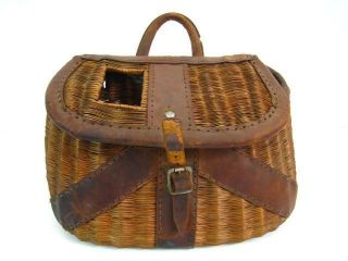 Vintage 13 Fishing Creel Basket Woven Wicker & Leather Tackle Antique
