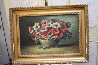 Antique Oil Painting Pansies Floral reds pinks Purples Gilt Wood Frame