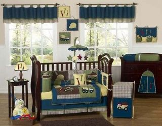 DESIGNER BLUE CONSTRUCTION BABY BOY CRIB BEDDING SET FOR A NEWBORN
