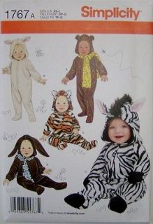 Pattern 1767 Infant Baby Halloween Costumes Bunny Bear Dog Sizes XS L