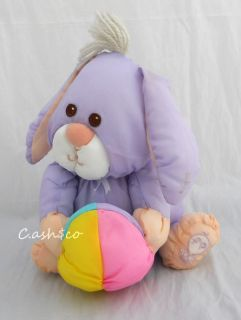 Vintage 1988 Fisher Price RARE purple baby bunny soft plush HTF AS