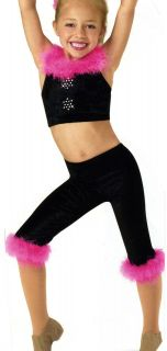 Barbie Girl Dance Costume Black Trimmed Pink Marabou w Rhinestone