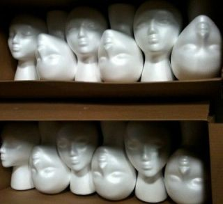Lot 12 Styrofoam Foam Mannequin Heads Female Head White Halloween Form