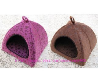 New Sweet Pet Dog Cat Tent House Bed Pink/Brown Heart Grid Small