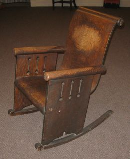 Unusual Antique Mission Style Art Nouveau Rocker Rocking Chair