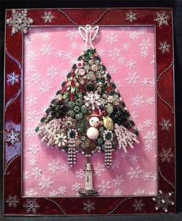 Vintage Jewelry Framed Christmas Tree ♥ Snowman, Candles, Red Frame