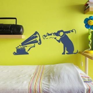 Banksy style pop music dog record player vinyl wall art decal sticker