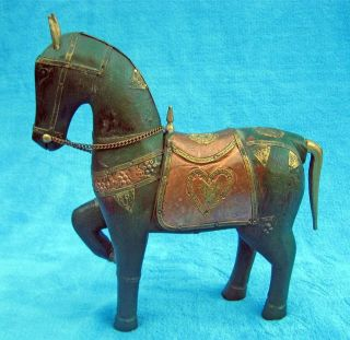 Handcrafted Wood Horse Figurine with Copper & Brass Accents