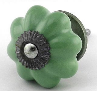 Green Ceramic Cabinet Knobs Vintage Drawer Pulls Furniture Handle #