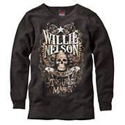 New Mens Willie Nelson Trouble Maker Black Thermal Tee Shirt Small S