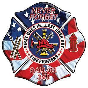 Firefighter American Flag Sticker Decal Never Forget