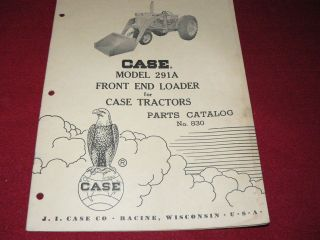 Case Tractor 291A Front End Loader Parts Manual