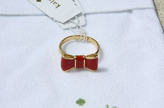 NWT Kate Spade Jewelry Gold Plated Take a Bow Ring Modern Red Size 7