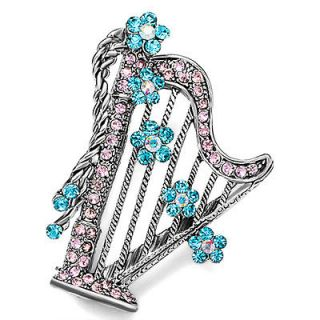 PUGSTER BLUE CRYSTAL HARP FLOWER BROOCH PIN H42